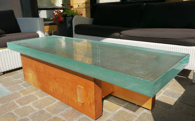 Garden clear glass table top with  wooden base