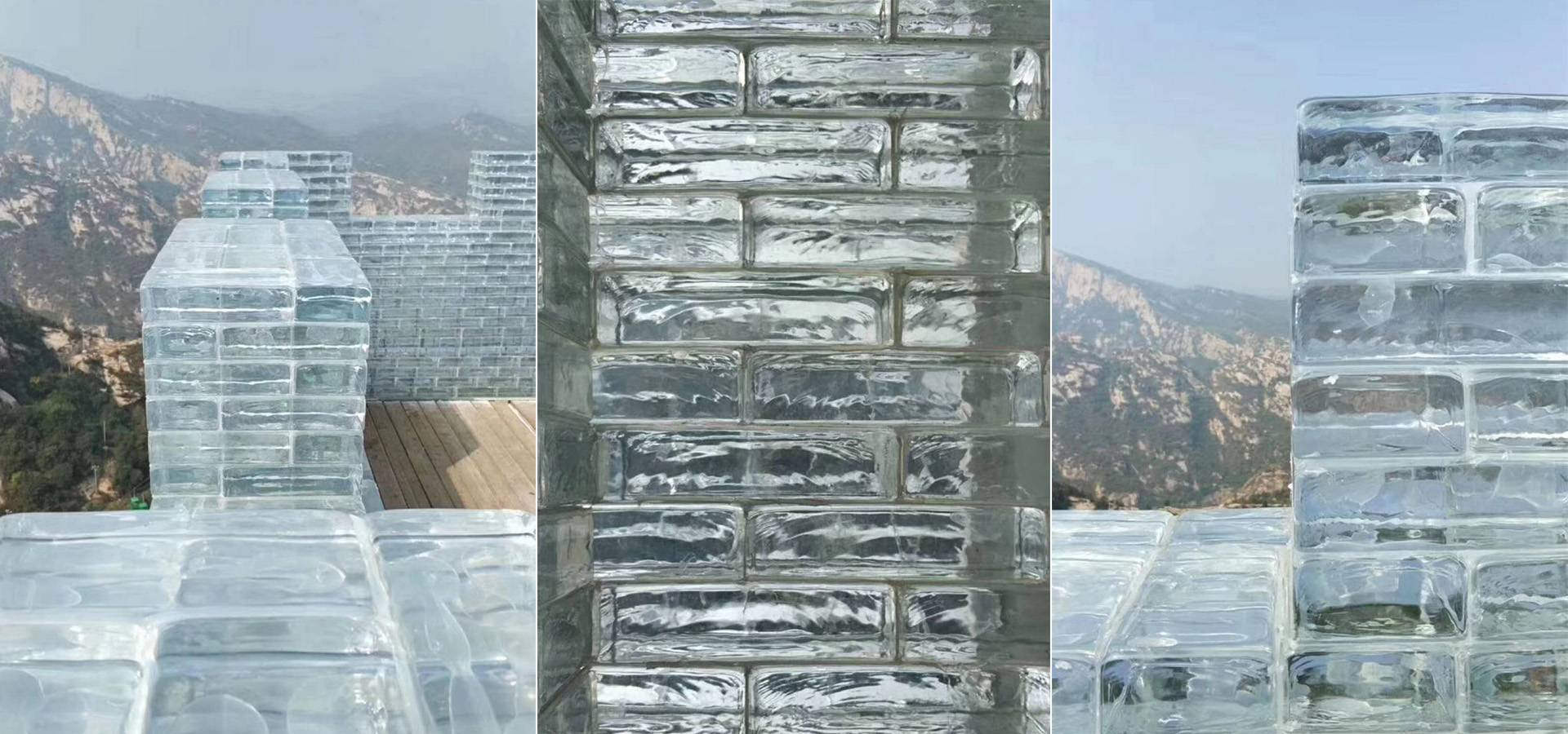 Clear solid glass bricks for Great Wall
