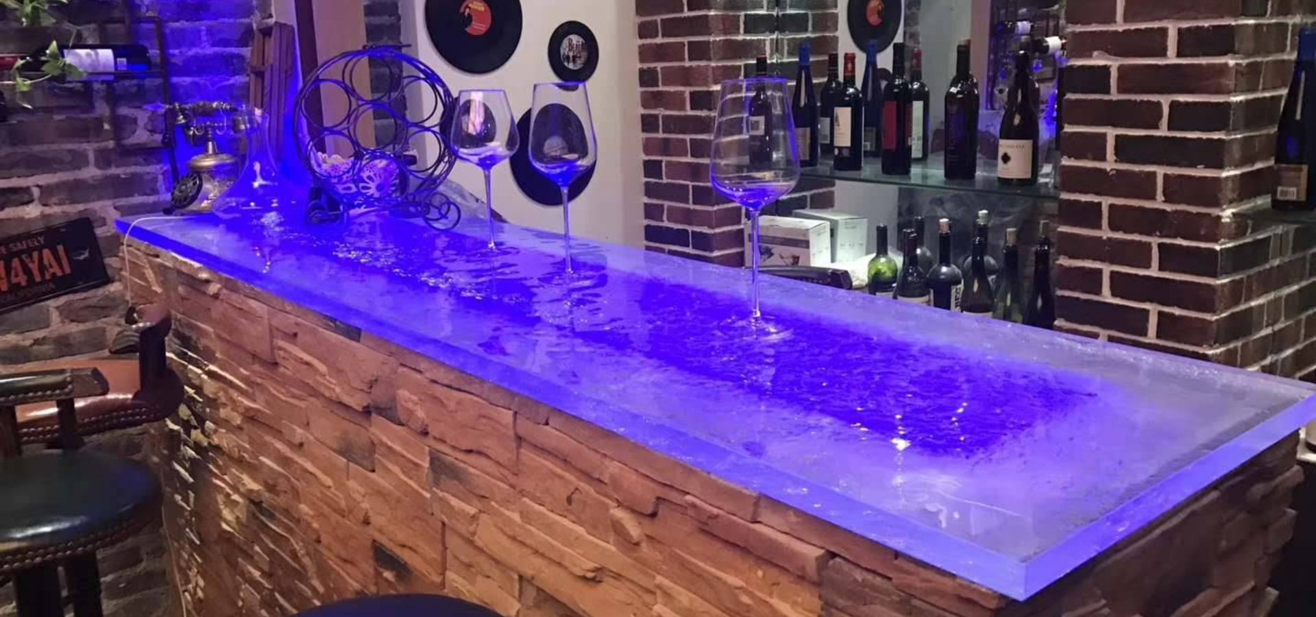Wholesale Winery LED Lighting Glass Table Top
