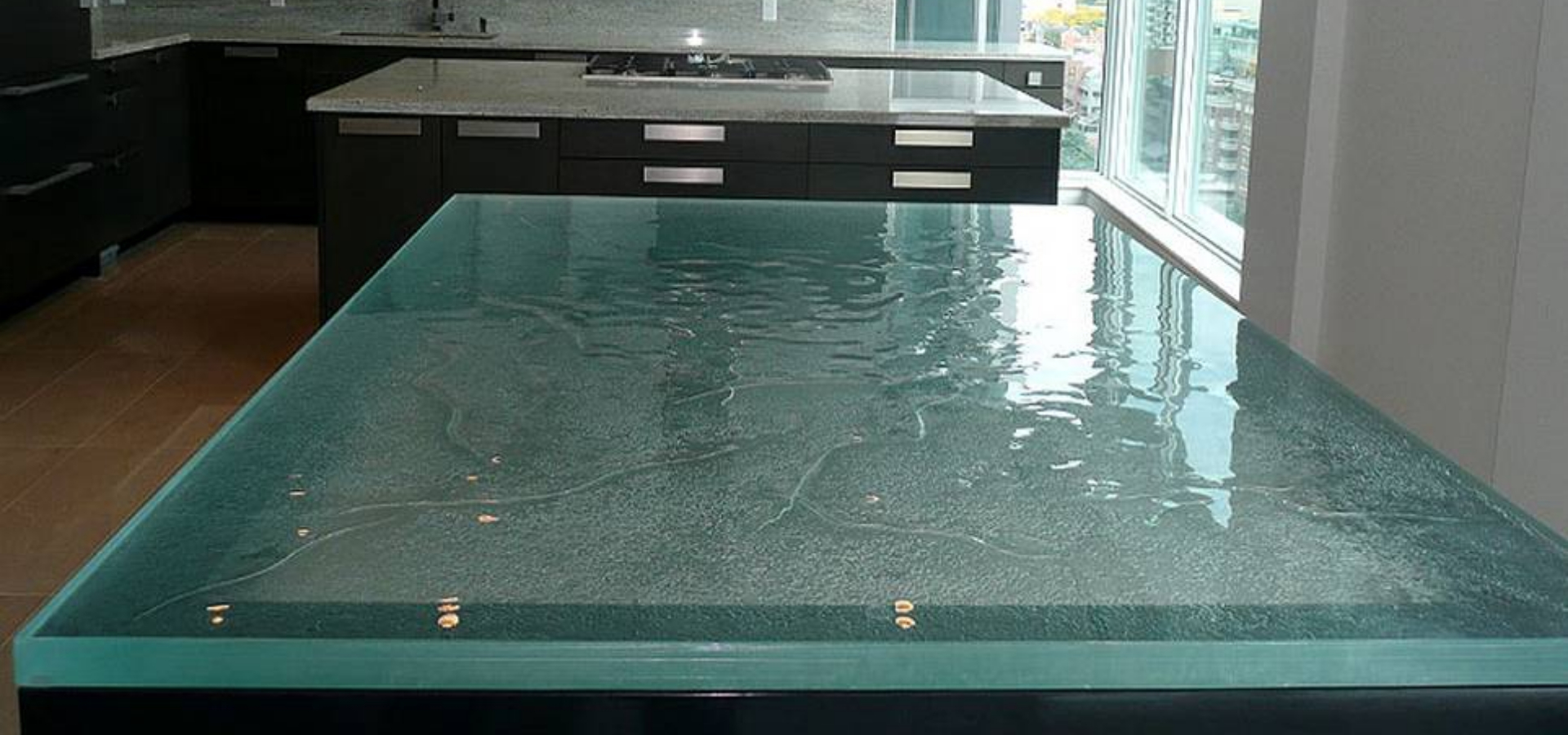 Household Textured Glass Dining Table Top