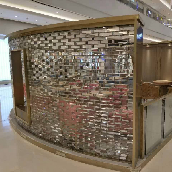 Transparent crystal glass bricks Wall in Shopping Mall