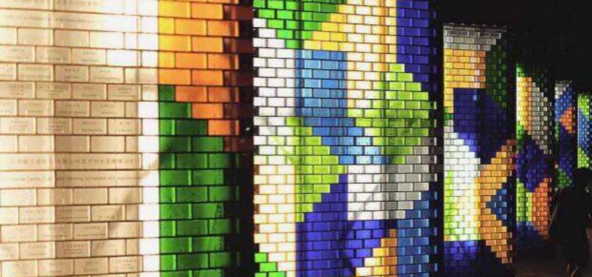 Seven colors glass solid bricks wall
