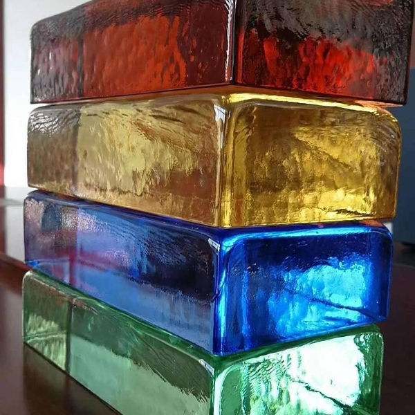 Seven colors glass solid bricks wall