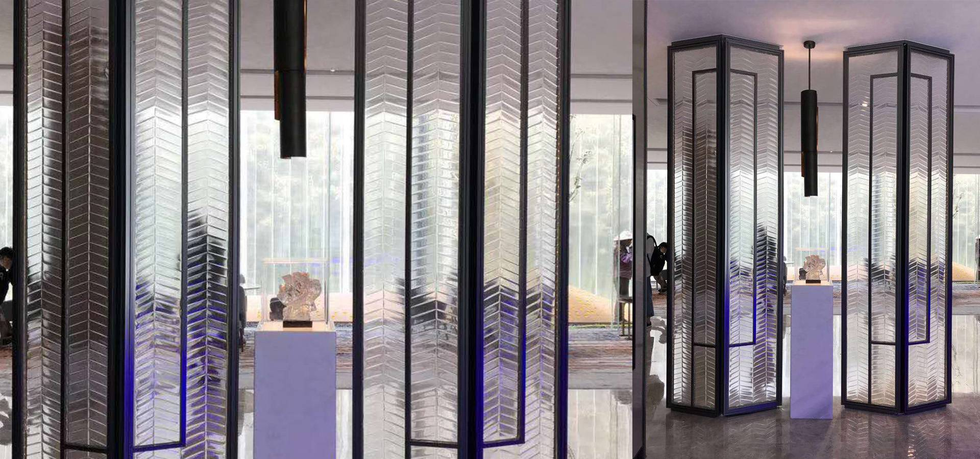 Hotel lobby glass partition