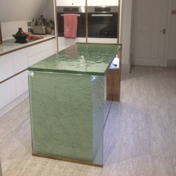 30mm thickness aqua clear glass countertop
