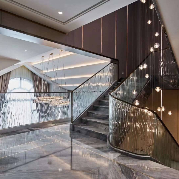Ultra clear tempered glass Stair railing