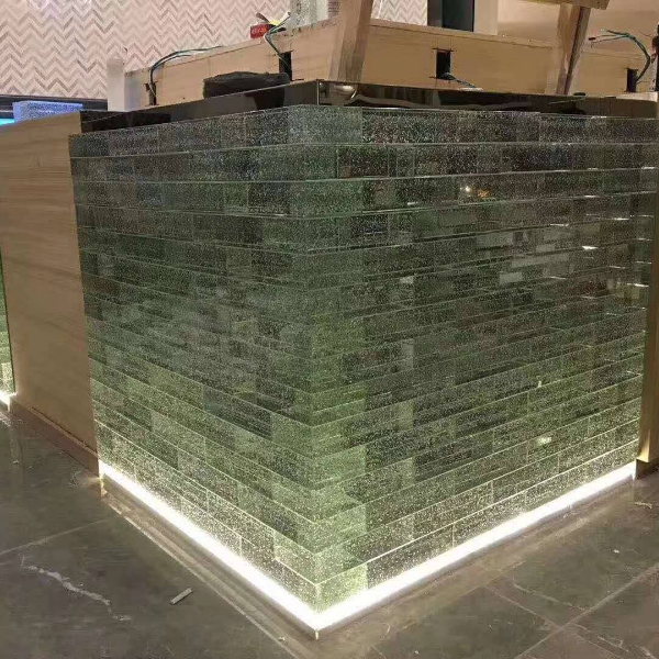 Bubbles solid glass bricks table support