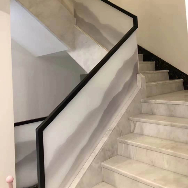 Untransparent safe glass stairs rails