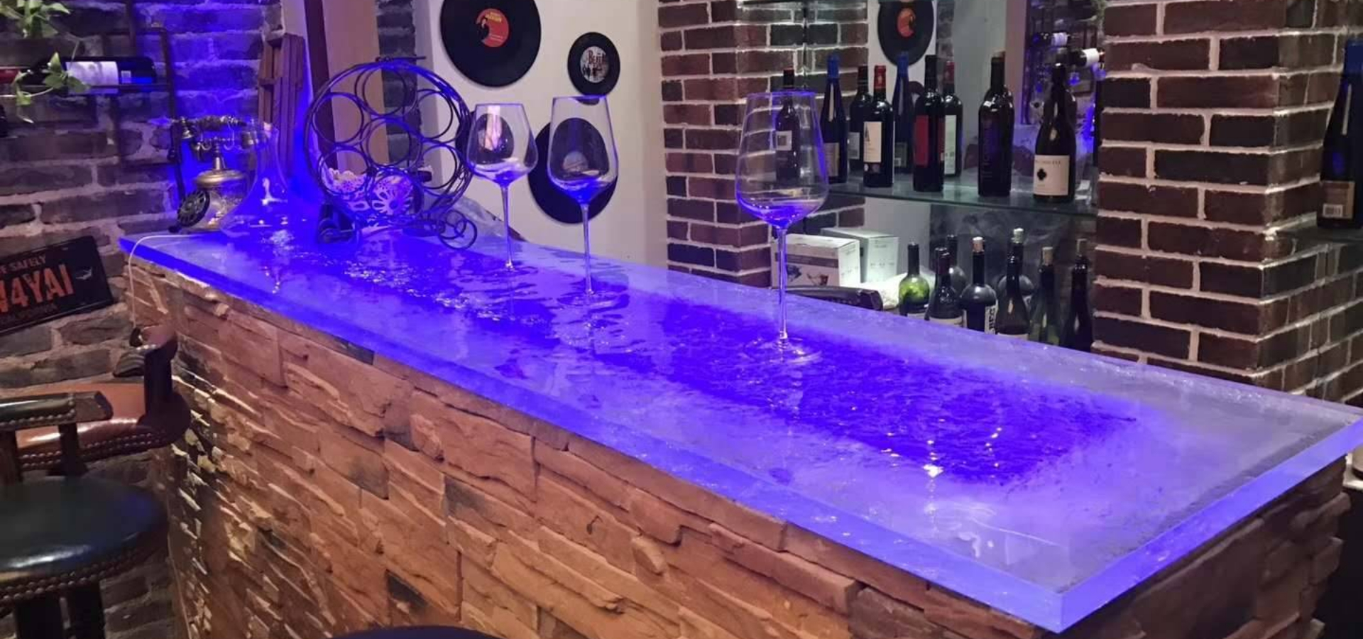 LED Lighting Wine Bar Table Top